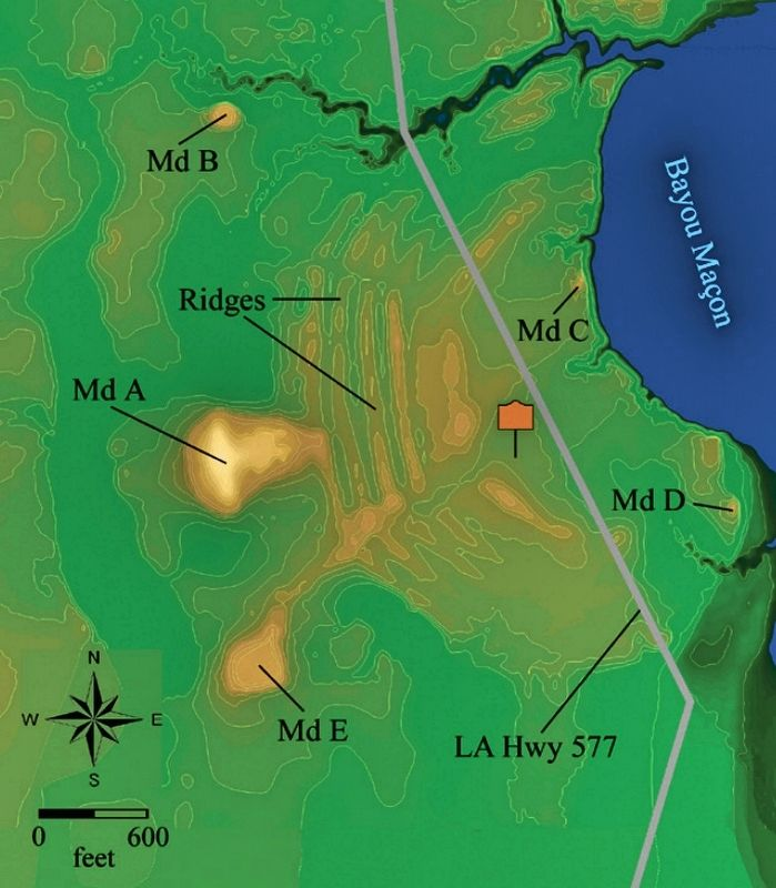 Mound B can be seen at top of Poverty Point map. image. Click for full size.