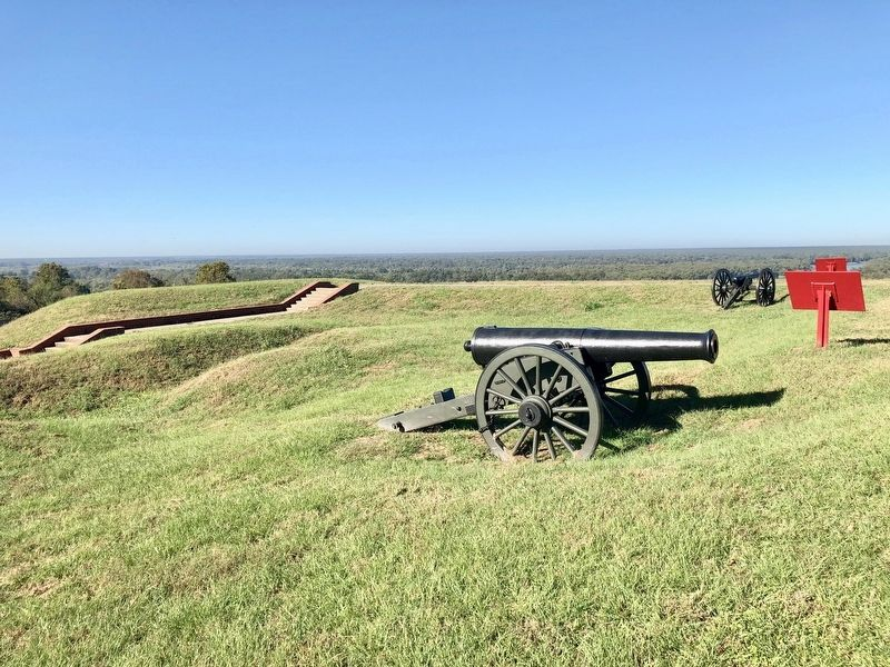 View west towards the Yazoo River, gun and marker in foreground. image. Click for full size.