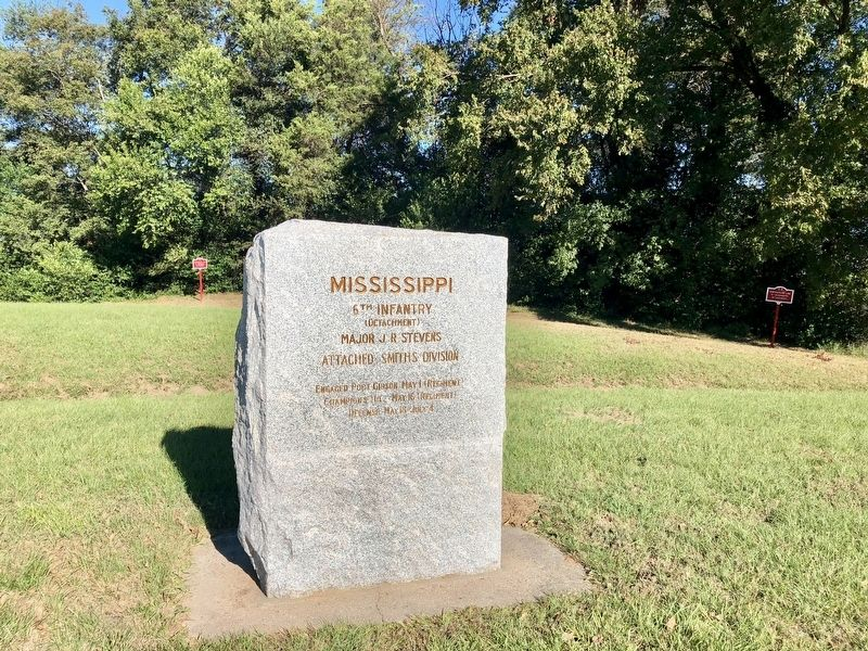 Mississippi 6th Infantry marker with trench line markers in background. image. Click for full size.