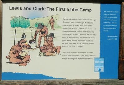Lewis and Clark: The First Idaho Camp Marker image. Click for full size.