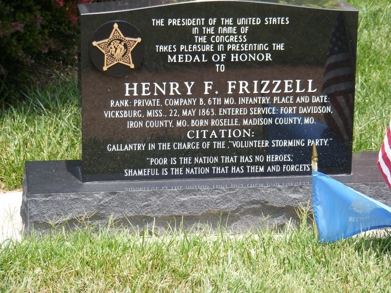 Henry F. Frizzell Memorial Marker image. Click for full size.