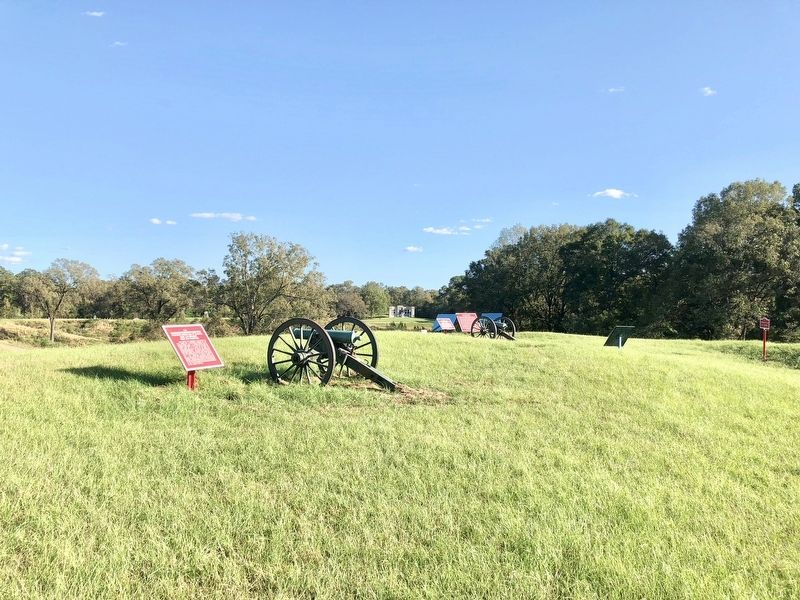 Marker is in far distance between the two guns. image. Click for full size.