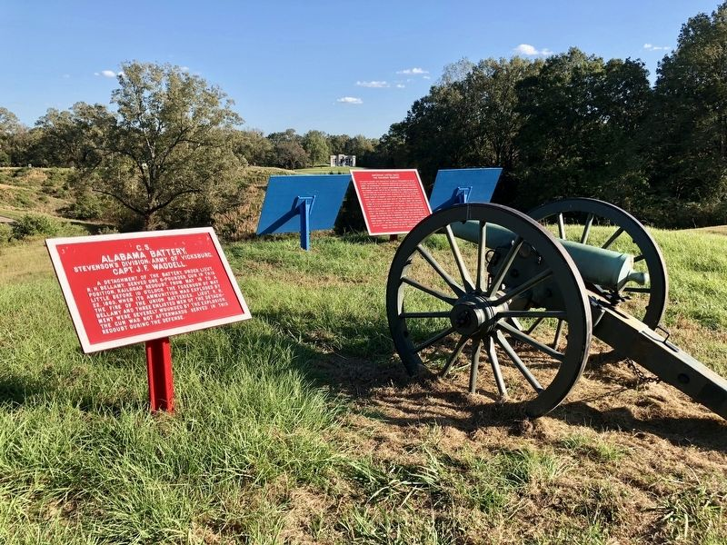 The Railroad Redoubt marker between 2 blue Union ones. image. Click for full size.