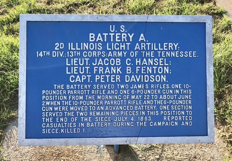 <small>U.S. </small> Battery A, Marker image. Click for full size.