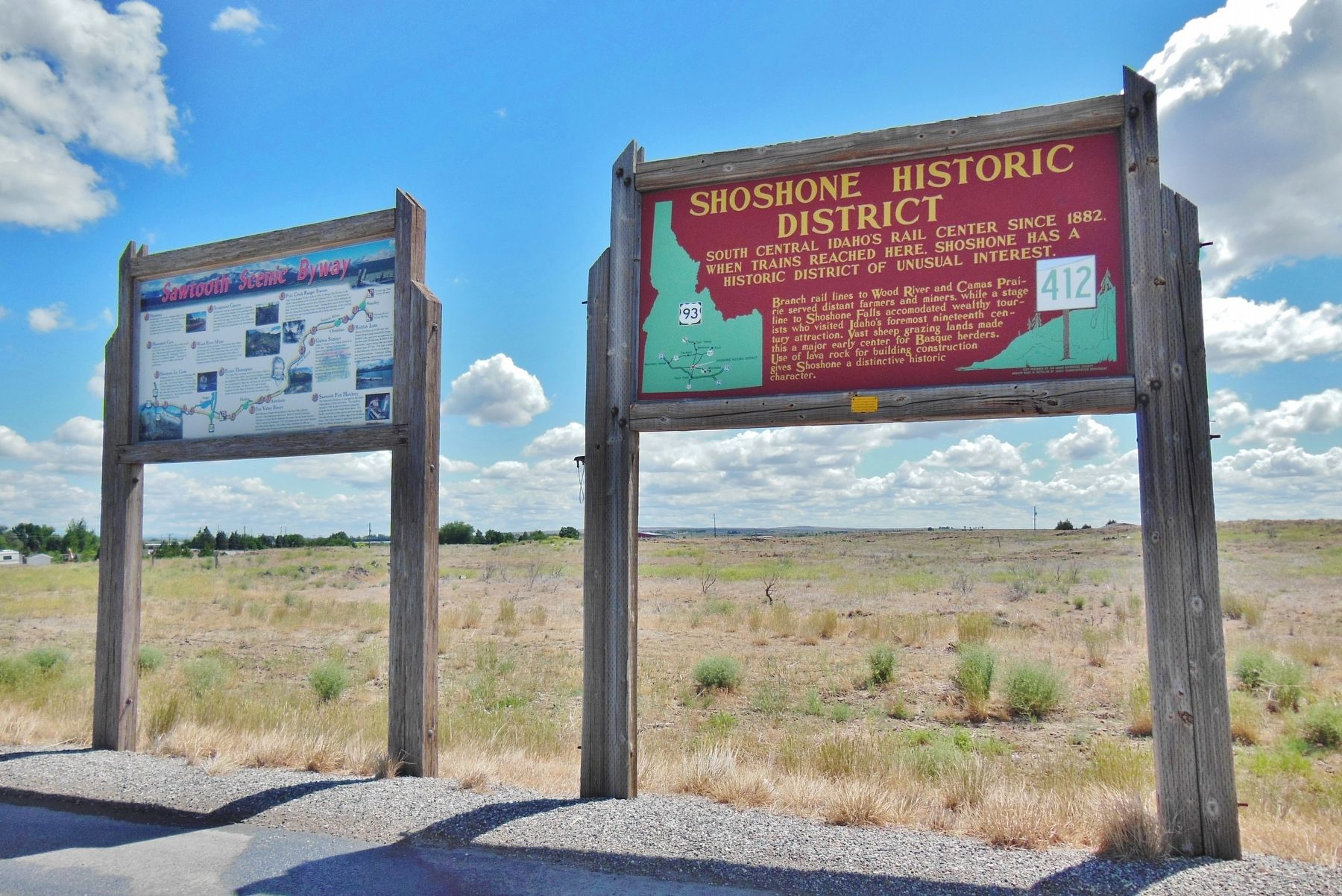 Shoshone Historic District Marker (<b><i>wide view</b></i>) image. Click for full size.