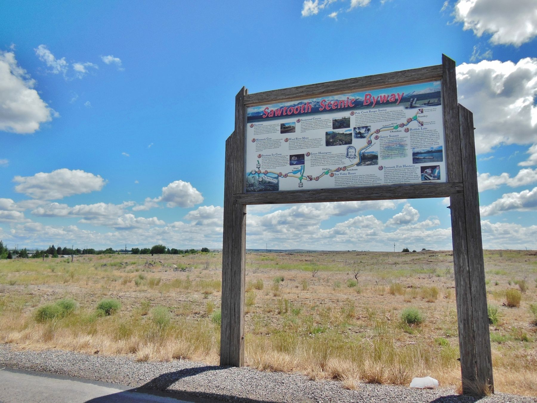 Sawtooth Scenic Byway Marker (<i>wide view</i>) image. Click for full size.