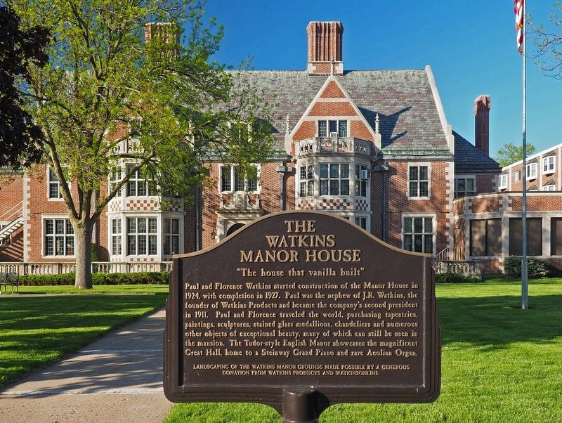 The Watkins Manor House marker with house in background image. Click for full size.