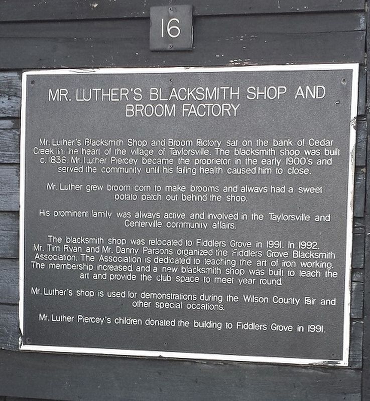 Mr. Luther's Blacksmith Shop and Broom Factory Marker image. Click for full size.