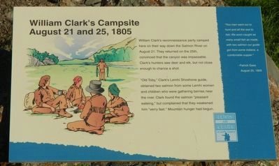 William Clark's Campsite, August 21 and 25, 1805 Marker image. Click for full size.