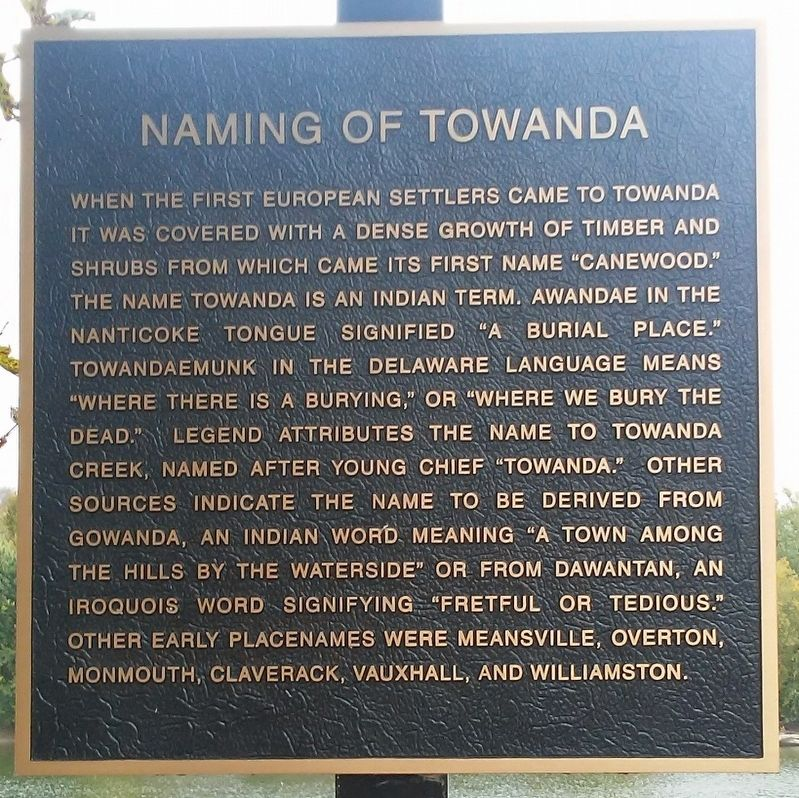 Naming of Towanda Marker image. Click for full size.