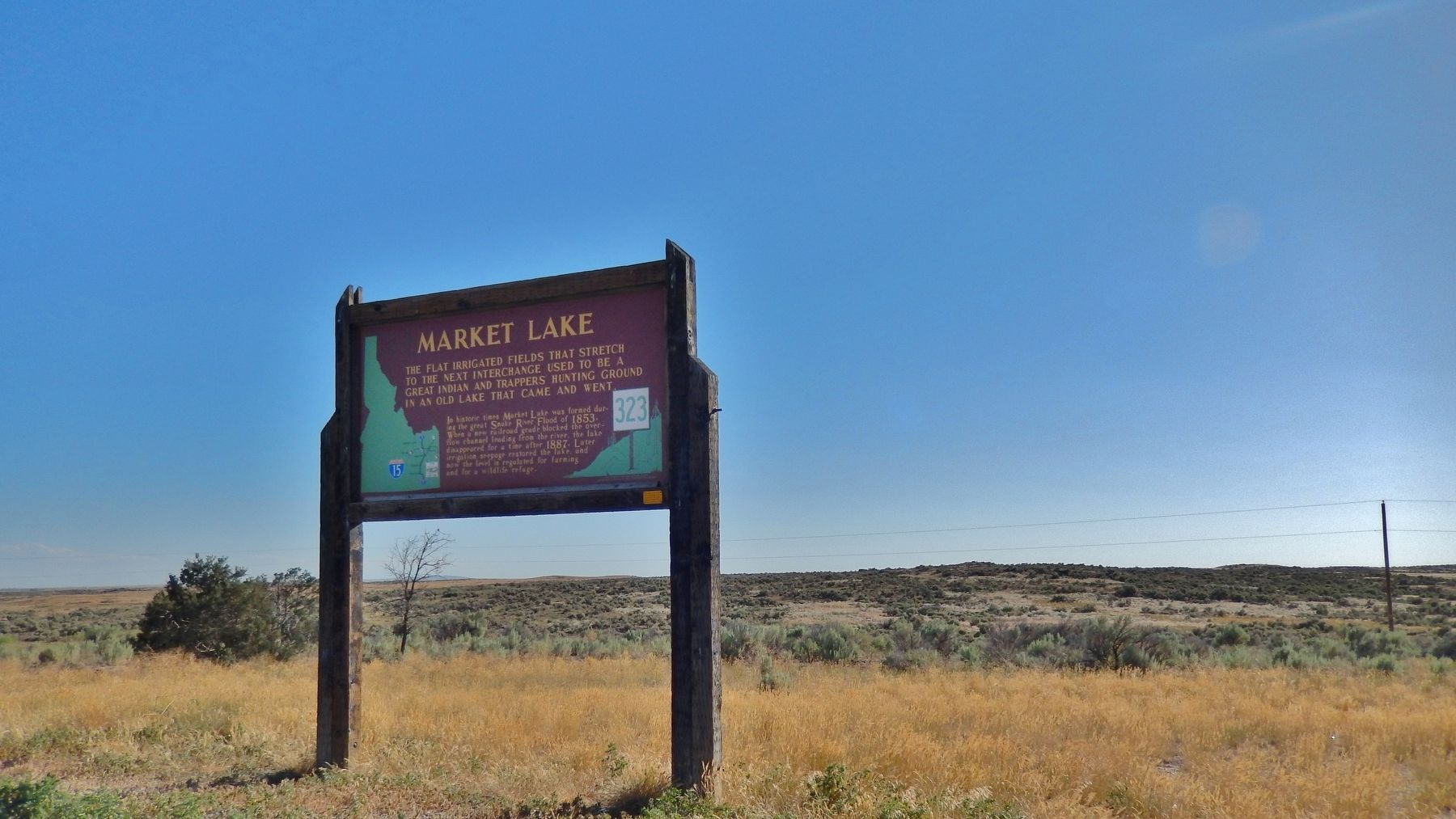 Market Lake Marker (<i>wide view</i>) image. Click for full size.