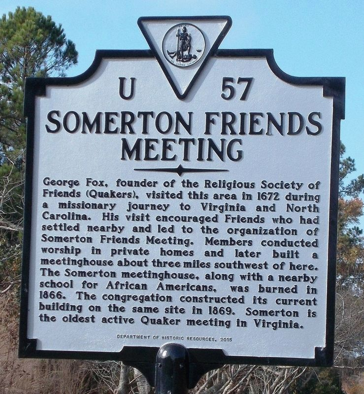 Somerton Friends Meeting Marker image. Click for full size.