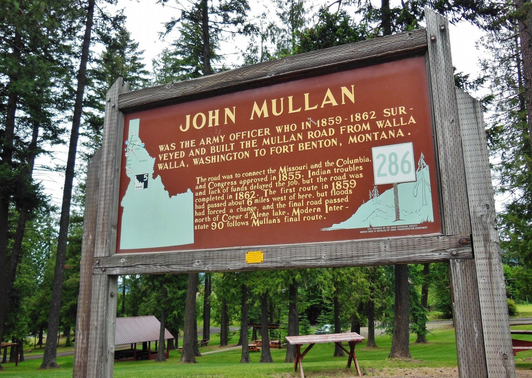 John Mullan Marker (<i>wide view showing Mullen Historical Park in background</i>) image. Click for full size.
