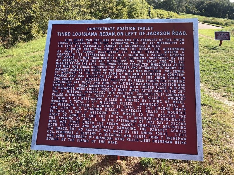 Third Louisiana Redan, On Left of Jackson Road. Marker image. Click for full size.