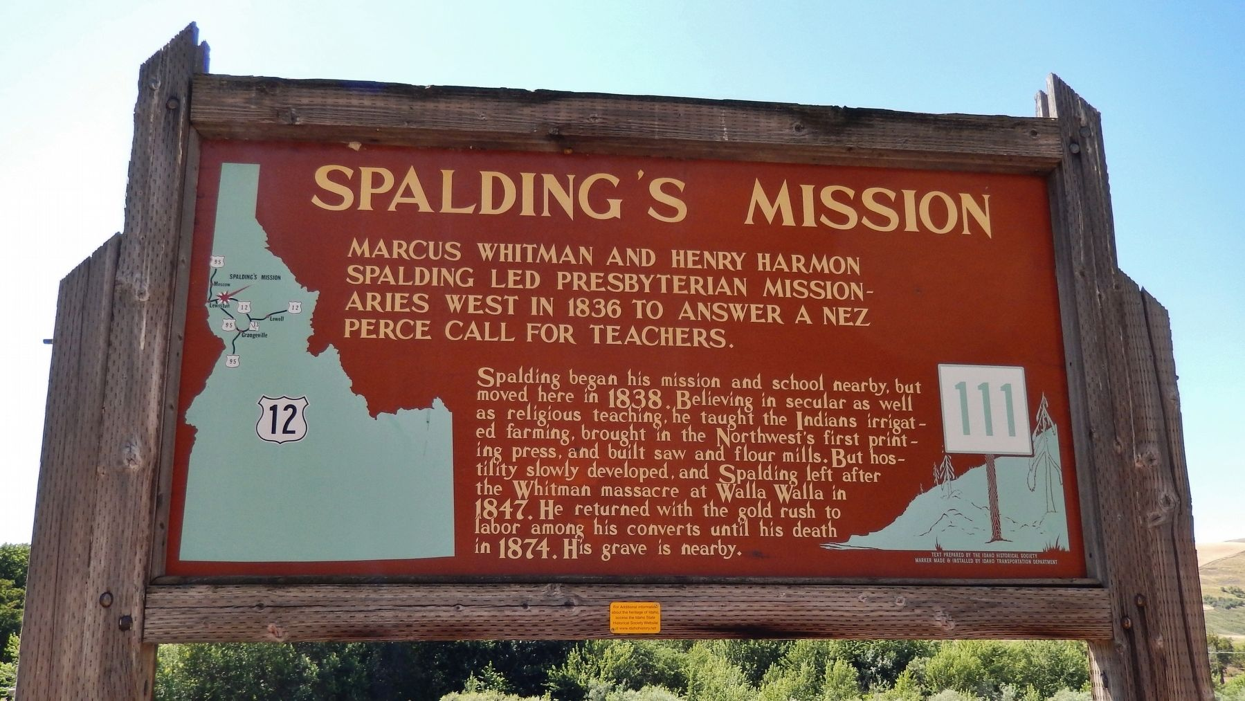 Spalding's Mission Marker image. Click for full size.