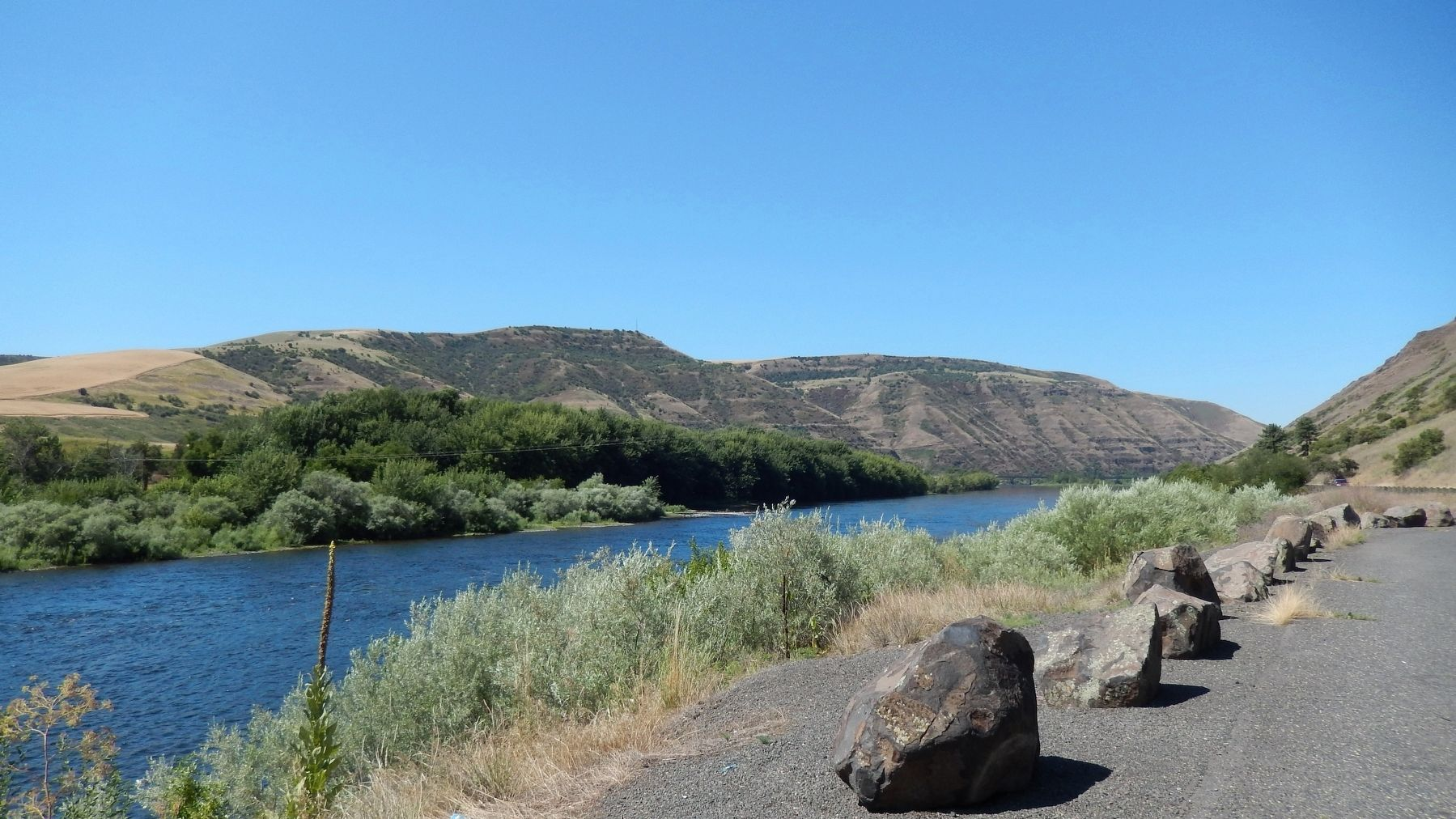 view of Clearwater River west from Spalding's Mission Marker image. Click for full size.