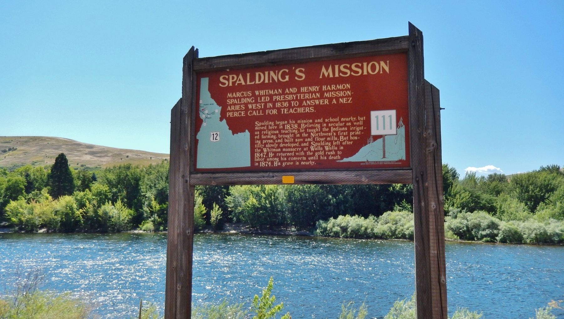 Spalding&#39;s Mission Marker (<i>wide view</i>) image. Click for full size.