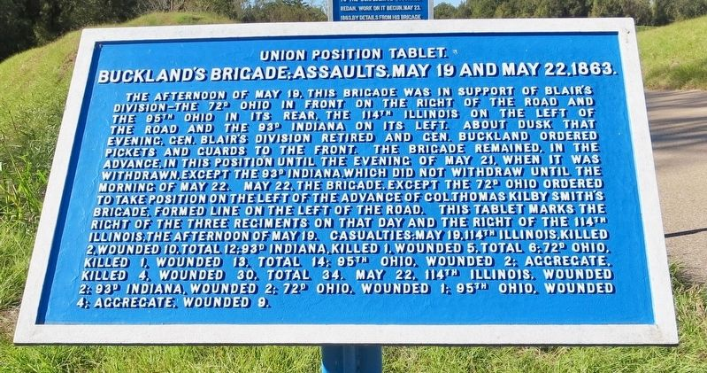 Buckland's Brigade; Assaults, May 19 and May 22, 1863. Marker image. Click for full size.