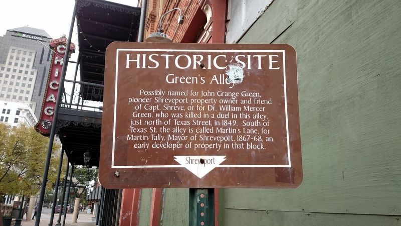 Green's Alley Marker image. Click for full size.