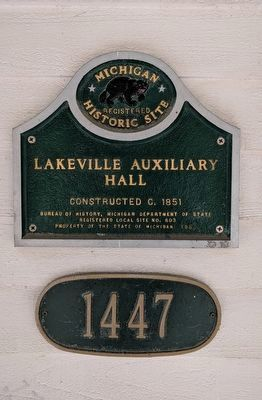 Lakeville Auxiliary Hall Marker image. Click for full size.