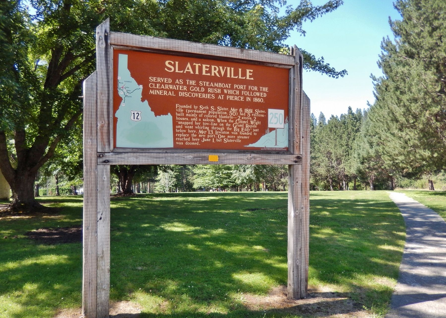 Slaterville Marker (<i>wide view</i>) image. Click for full size.