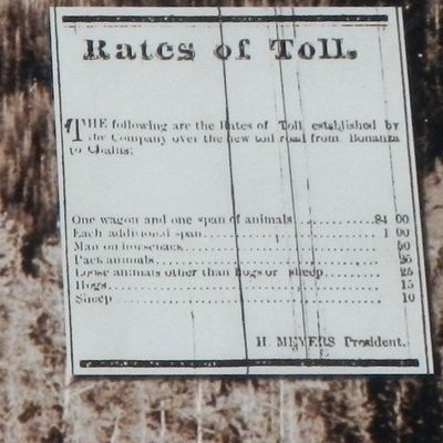 Tollgate Station Marker, detail of Toll Road rates image. Click for full size.