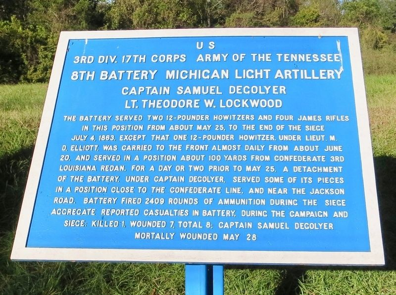 <small>U.S.</small> 3rd Div. 17th Corps Army of the Tennessee Marker image. Click for full size.