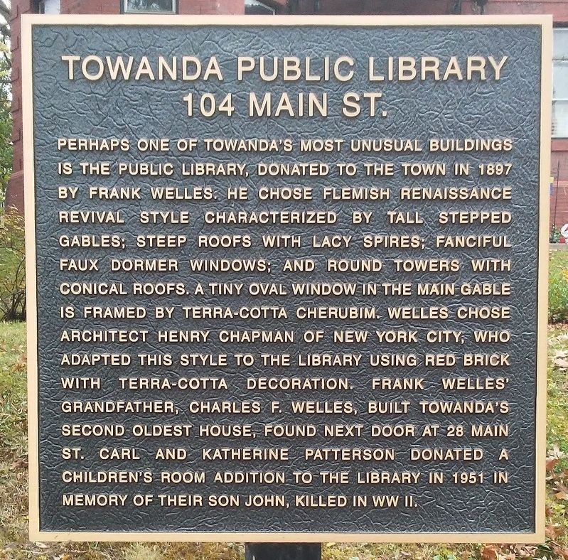 Towanda Public Library Marker image. Click for full size.