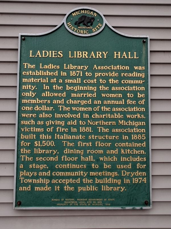 Ladies Library Hall Marker image. Click for full size.
