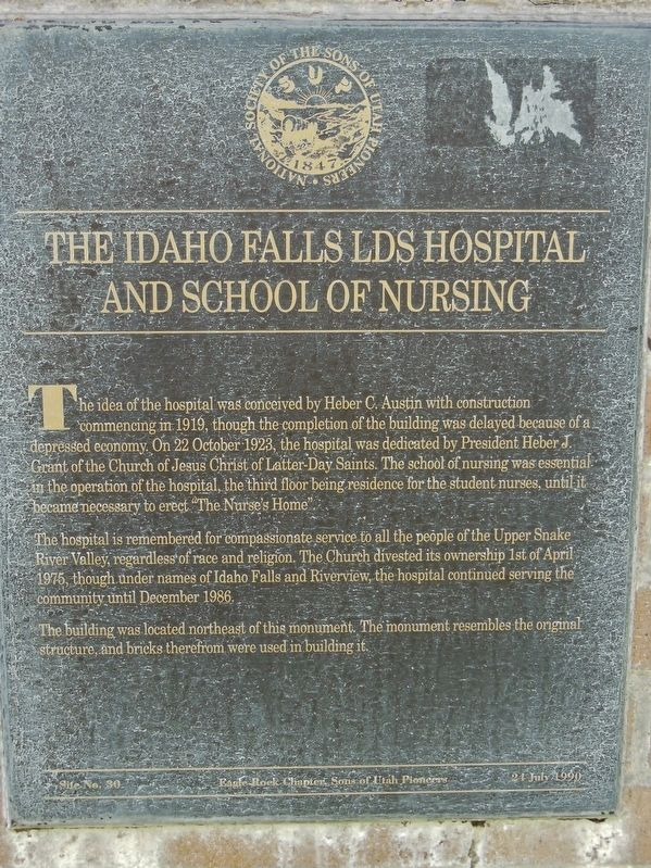 The Idaho Falls LDS Hospital and School of Nursing Marker image. Click for full size.