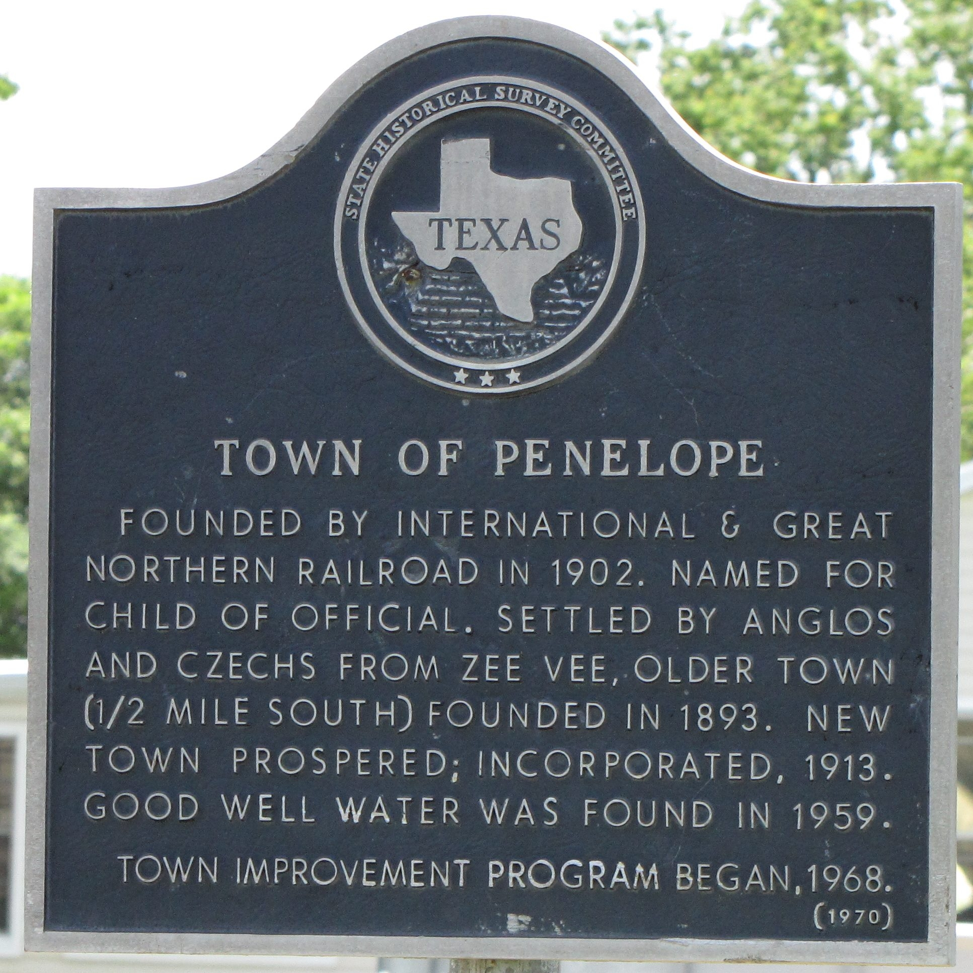 Town of Penelope Texas Historical Marker