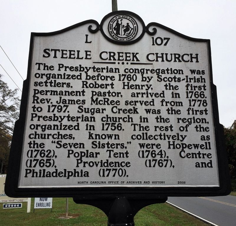 Steele Creek Church - Intersection of Steele Creek Road and Steele Creek Presbyterian Church Marker image. Click for full size.
