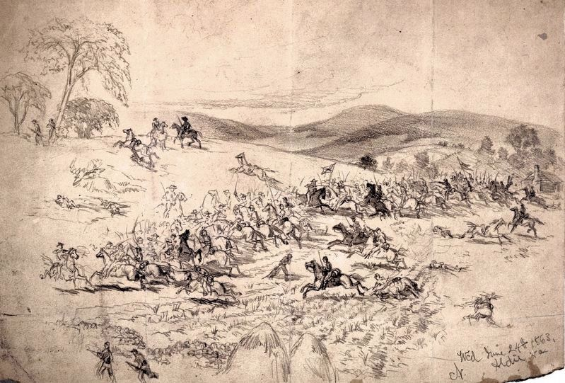Union Cavalry Charging Past Haystacks near Aldie image. Click for full size.