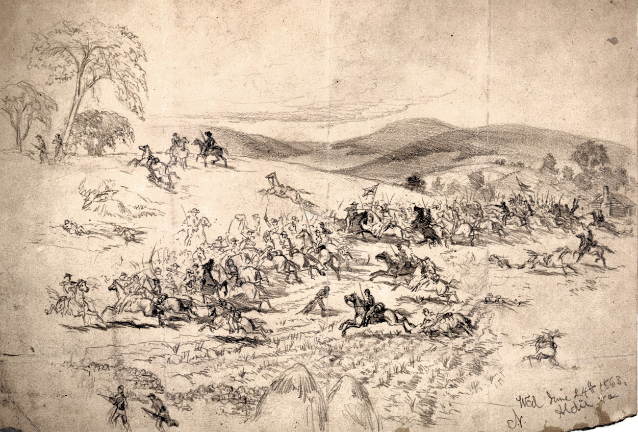 Union Cavalry Charging Past Haystacks near Aldie