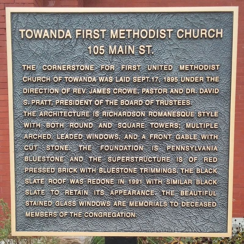 Towanda First Methodist Church Marker image. Click for full size.