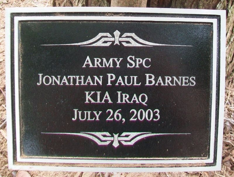 SPC Jonathan P. Barnes Marker image. Click for full size.