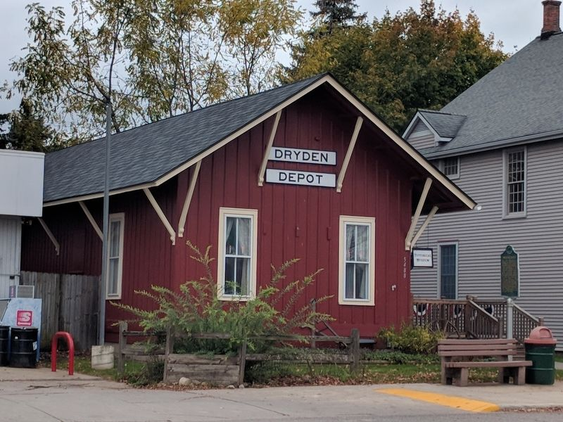 Dryden Depot and Marker image. Click for full size.
