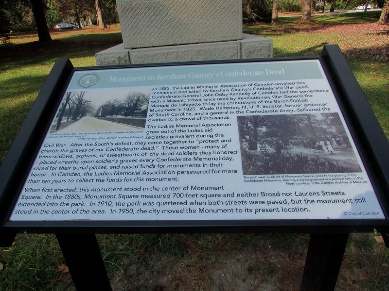 Monument to Kershaw County's Confederate Dead Marker image. Click for full size.