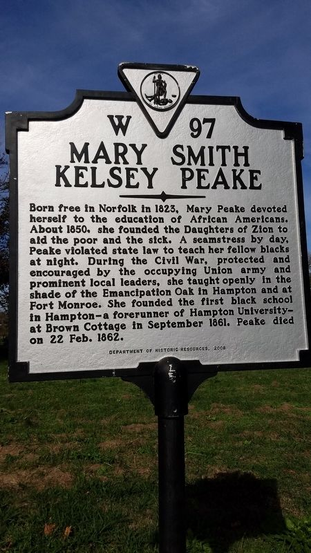 Mary Smith Kelsey Peake Marker image. Click for full size.