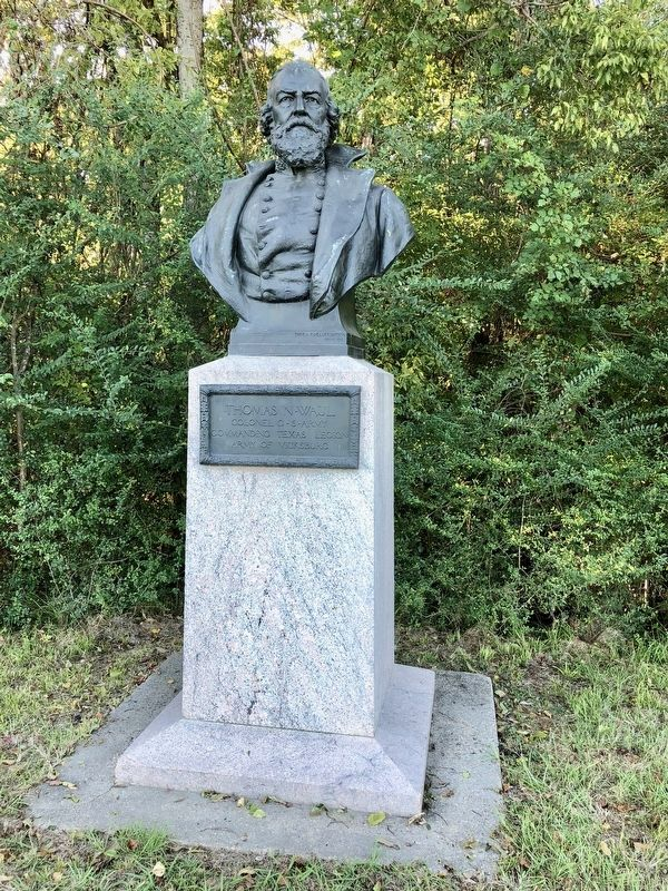 Nearby bust of Thomas N. Waul. image. Click for full size.