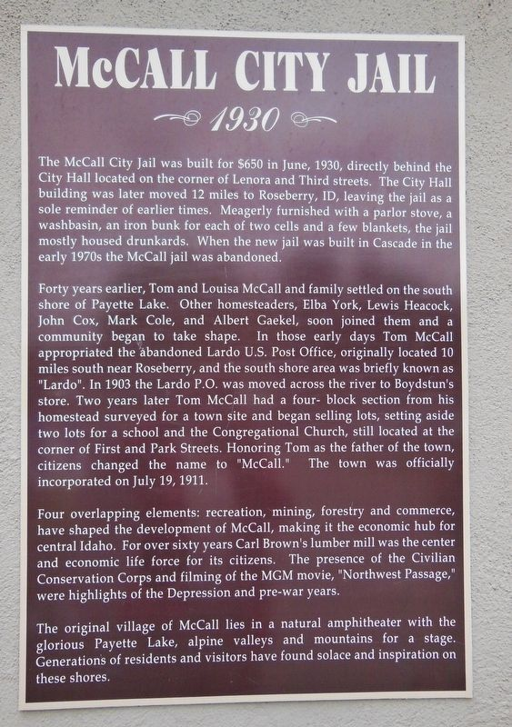McCall City Jail Marker image. Click for full size.