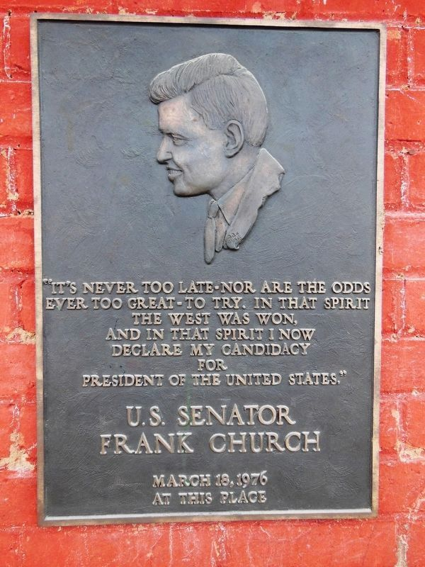 Senator Frank Church Tablet (<i>mounted right side entrance doorway</i>) image. Click for full size.