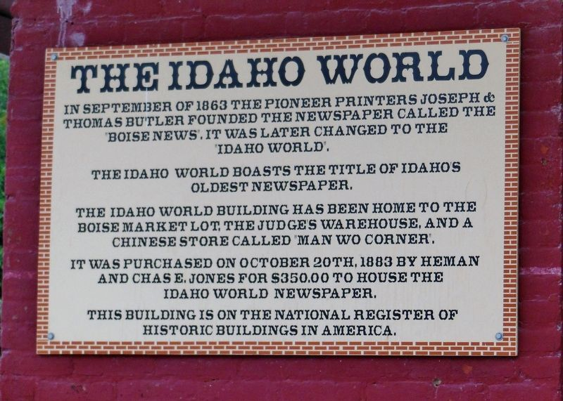 The Idaho World Marker image. Click for full size.