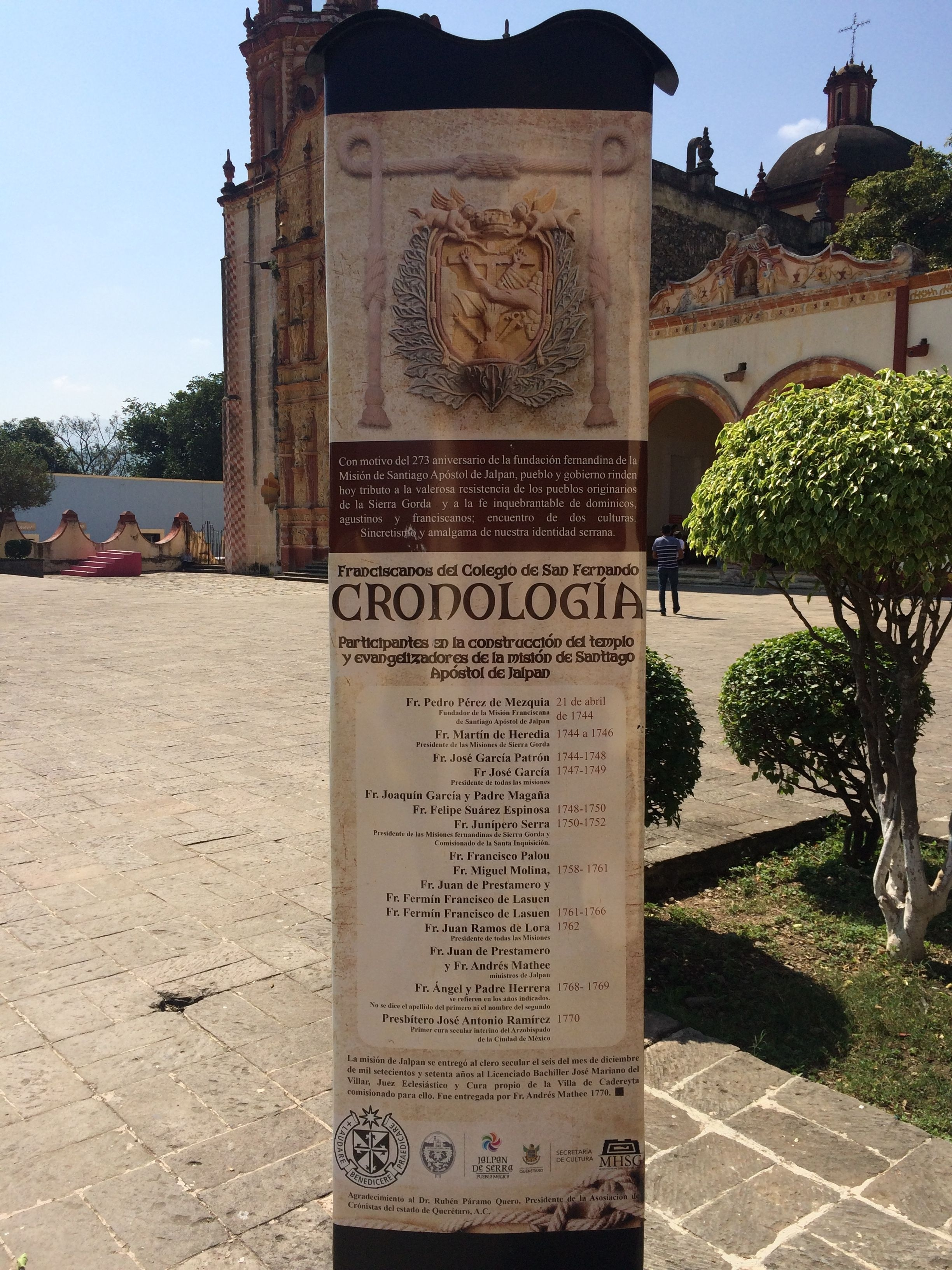 Chronology of the Saint James Mission of Jalpan Marker