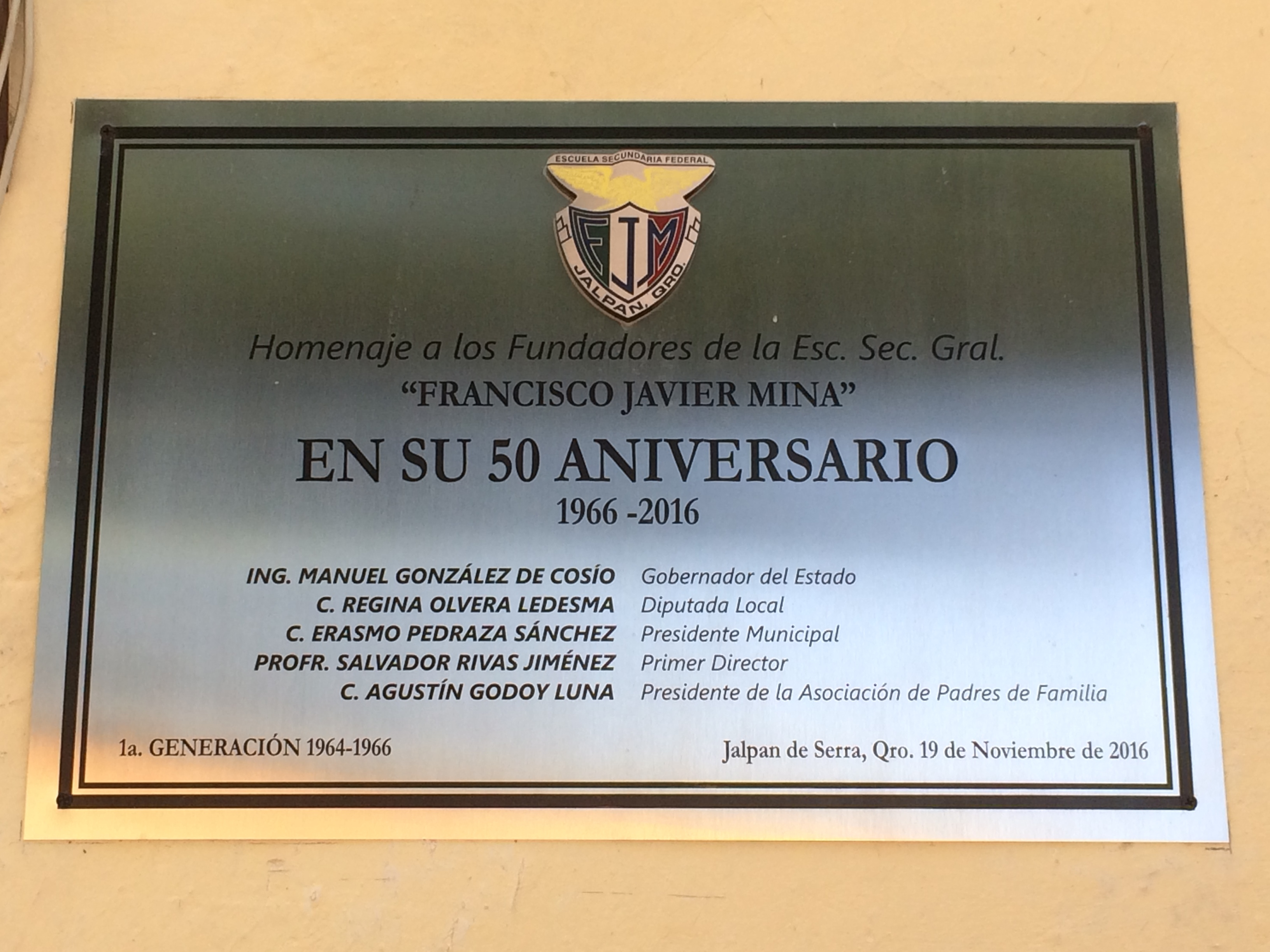 An additional Francisco Javier Mina Federal Secondary School Marker