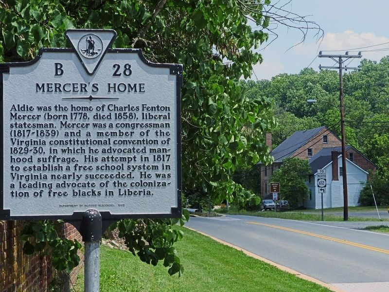 Mercer's Home Marker<br>and Aldie Mill image. Click for full size.