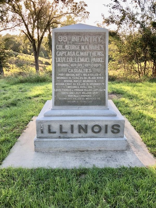 Illinois 99th Infantry monument looking west. image. Click for full size.