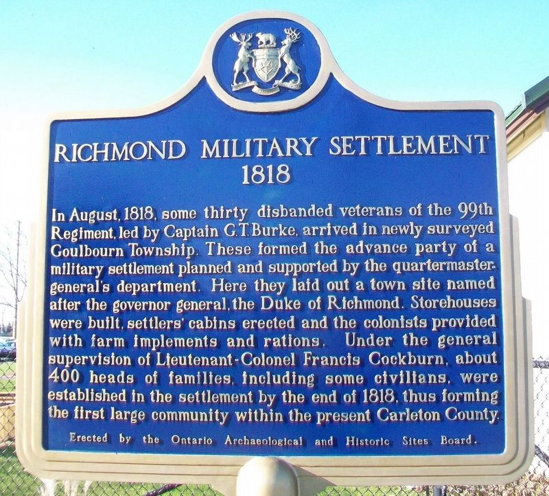 Richmond Military Settlement Marker image. Click for full size.
