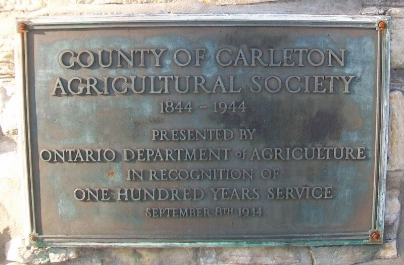 County of Carleton Agricultural Society Marker image. Click for full size.