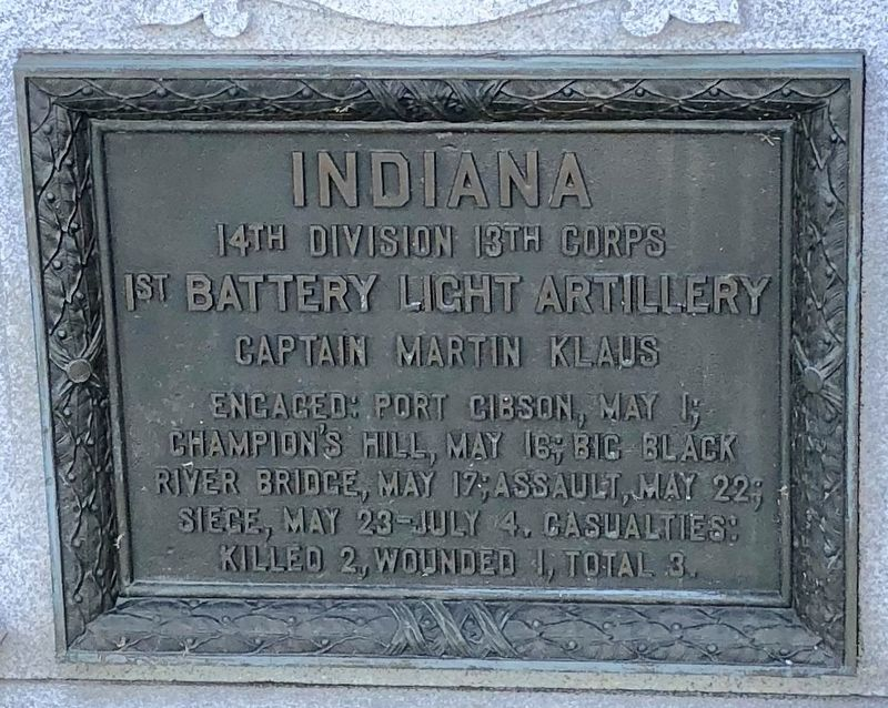 Indiana 1st Battery Light Artillery Marker image. Click for full size.